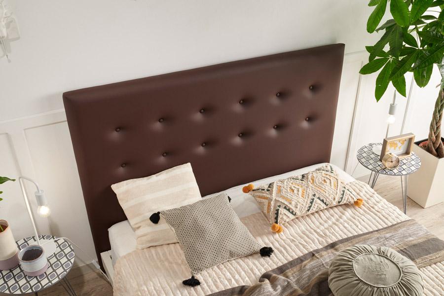 Cabecero tapizado polipiel marrón