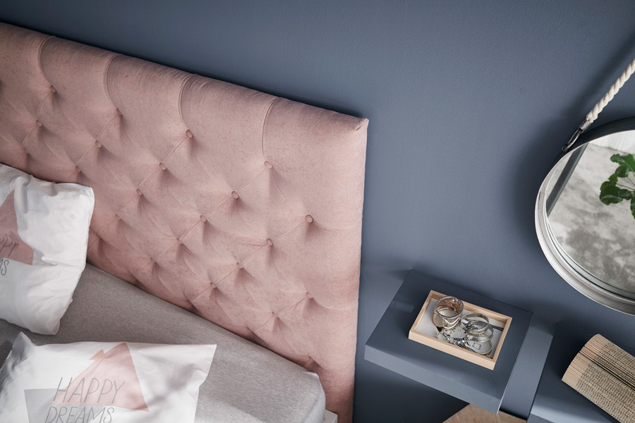 Cabecero tapizado Capitoné rosa